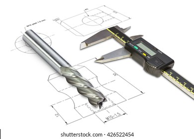 Digital vernier calipers and end mill cutter, isolated on drawing background with clipping path