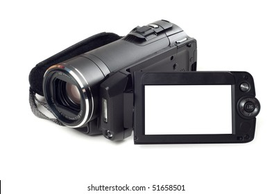 Digital video camera isolated on a white