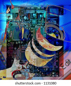 digital video editing abstract montage firewire circuit board