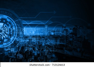 digital virtual interface on connected city background, smart city concept