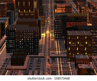 digital visualization of a science fiction city