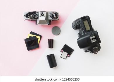 Digital vs. Analog SLR Camera with Slides, Memory Cards, 35 mm Film