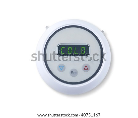 Digital wall thermostat indicating cold