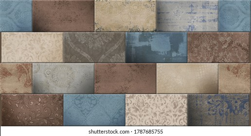 Digital wall tiles design & abstract wallpapers designs with different pattern for kitchen, bathroom & living room - 3D Illustration,ceramic wall tiles design,digital wall tiles, linoleum, textile