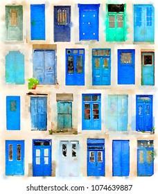Digital watercolor of 24 different blue doors