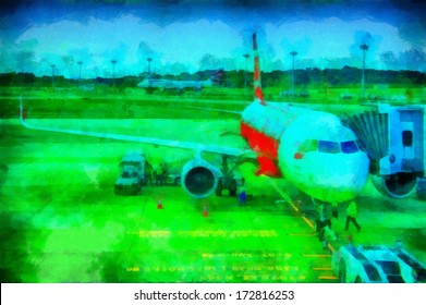 Digital watercolor background of picturesque asian airport