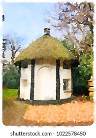 Digital watercolor painting of a beautiful small house with a thatched roof with windows. With blue sky and trees and shurbs and space for text. Possibly a guard house.