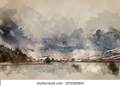 Digital watercolor painting of Beautiful sunrise landscape image in Winter of Llynnau Mymbyr in Snowdonia National Park with snow capped mountains in background