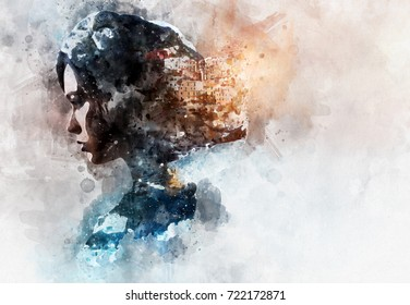 Digital watercolor painting. Double exposure portrait of a woman and view of Manarola. La Spezia, Liguria, northern Italy. Toned image