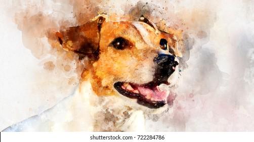 Digital watercolor painting of Jack Russell Terrier dog