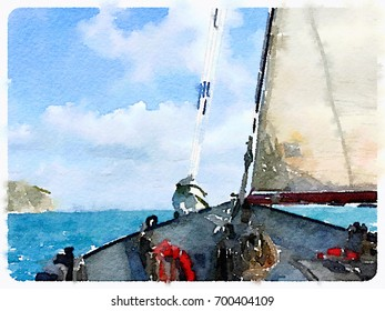 Digital watercolor painting of a ketch sailing boat in the sea with its fore sail up and the horizon in the distance, taken from the deck of the boat. With space for text.