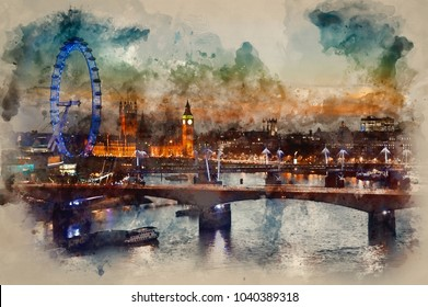 Digital watercolor painting of London skyline at night including Parliament, London Eye and South Bank
