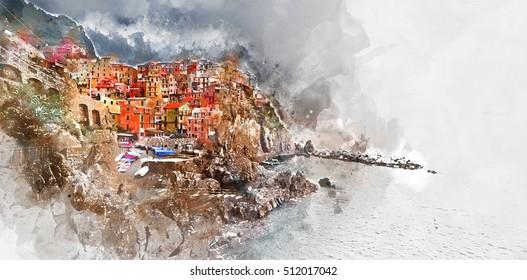 Digital watercolor painting of Manarola. Manarola is a small coastal village in the Italian region of Liguria, Cinque Terre. Province of La Spezia.  Italy