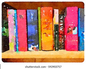Digital watercolor painting of a row of colorful books on a shelf. Books to celebrate World Book Day.
