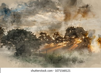 Digital watercolor painting of Stunning vibrant Summer sunrise over English countryside landscape