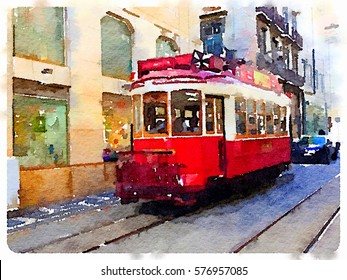 Digital watercolor painting of a traditional vintage red tram in Lisbon, Portugal, riding through the picturesque streets. Hop on hop off tram transportation through Lisbon.