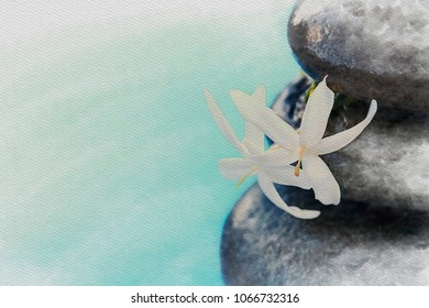 Digital Watercolor Painting Vintage style Zen meditation background, balanced stones with white flower stack under the water