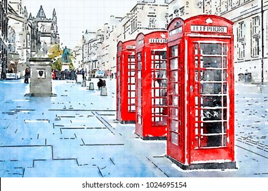 Digital watercolor of Three red booths on a row in the street