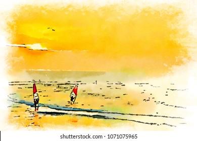 Digital watercolor of windsurfers on ocean