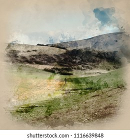 Digital watercolour painting of Beautiful English countryside landscape across rolling green hills