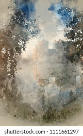 Digital watercolour painting of Beautiful medieval castle and moat at sunrise with mist over moat and sunlight behind castle