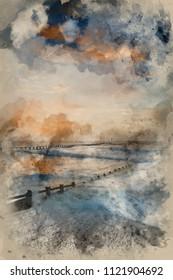 Digital watercolour painting of Beautiful moody stormy landscape image of waves crashing onto beach at sunrise