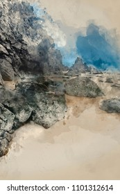 Digital watercolour painting of Beautiful sunrise landscape image of Barafundle Bay on Pembrokeshire Coast in Wales