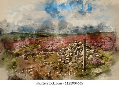 Digital watercolour painting of Colorful vibrant landscape image of Burbage Edge and Rocks in Summer in Peak District England