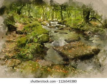 Digital watercolour painting of Landscape iamge of river flowing through lush green forest in Summer