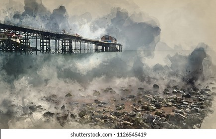 Digital watercolour painting of landscape image of old pier stretching out to sea