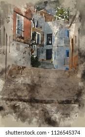Digital watercolour painting of Mediterranean alley way between old houses and buildings
