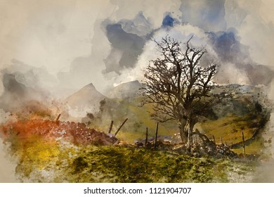 Digital watercolour painting of Stunning landscape of Chrome Hill and Parkhouse Hill Dragon's Back in Peak District in UK