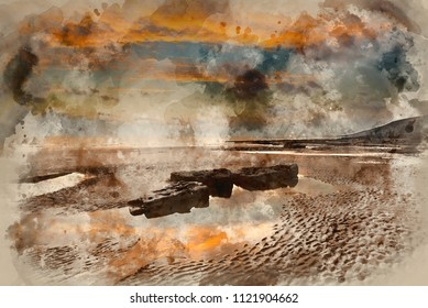 Digital watercolour painting of Stunning sunset landscape over Dunraven Bay in Wales