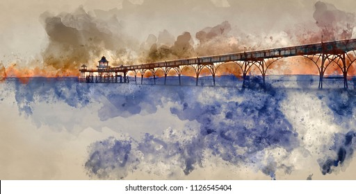 Digital watercolour painting of Stunning sunset over ocean with pier silhouette