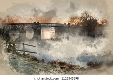 Digital watercolour painting of Winter sunrise landscape over river and fields covered in frost