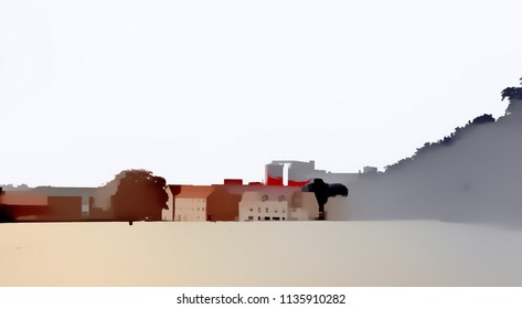 A digital watercolour of a town behind a field in muted colours