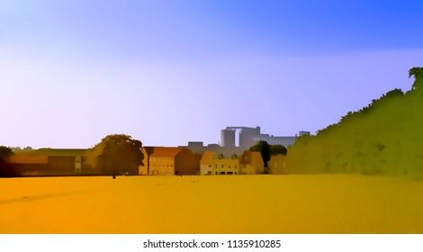 A digital watercolour of a town behind a field