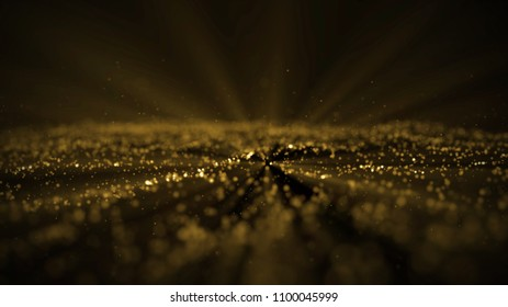 Digital wave particles form for digital background. gold wave with light showing through