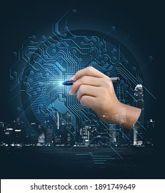 Digital world Create a cycle of the future and an evolving city with our hands.