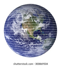 Digital World Earth overlaid with binary code representing a digital world. Global technology concepts. Blue Marble image courtesy of NASA Goddard Space Flight Center. http://earthobservatory.nasa.gov