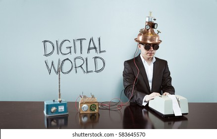 Digital world text with vintage businessman at office