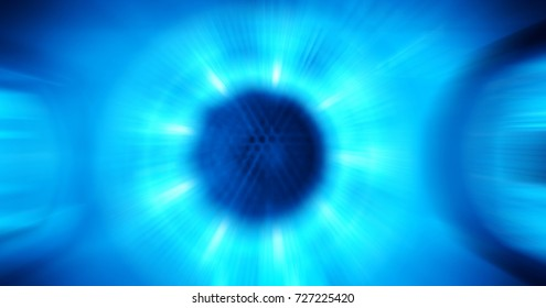 digitally blurred zoom motion, blue light flash out from speaker in center shows powerful and loud audio sound wave, high decibel sonic wave conceptual abstract background for text copy space backdrop