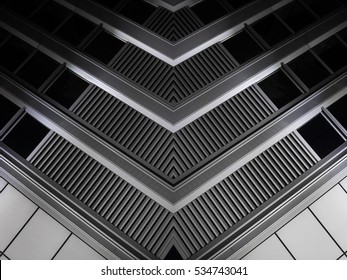 Digitally composed photo of louvered window corner. Realistic but fictional industrial or office architecture fragment. Abstract black and white background image on the subject of modern interior.