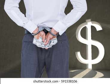Digitally composite image of corrupt businessman in handcuffs holding money against dollar sign