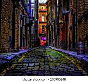 A digitally constructed painting of cobbled back streets of inner city Liverpool