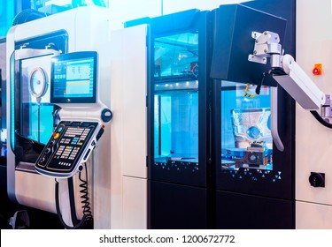 Digitally controlled modern cnc lathe in a factory