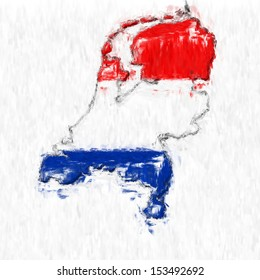 A digitally enhanced image of the flag of Netherlands made to look like the countries map shape and done in the style of an impressionist painting.