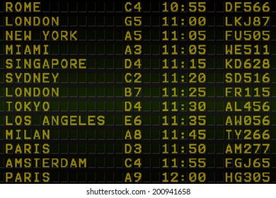 Digitally generated black airport departures board with yellow text