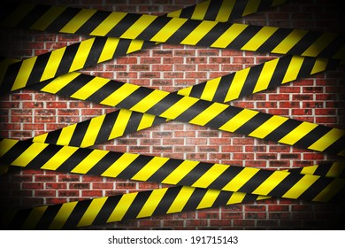 Digitally generated cordon tape over red wall