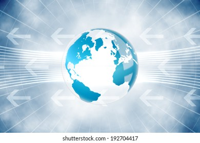 Digitally generated global business graphic in blue